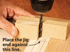 Drill perpendicular holes without a drill press. Set the jig on your layout lines and bring the bit into the corner and dill perpendicular holes. Stupid simple but smart.