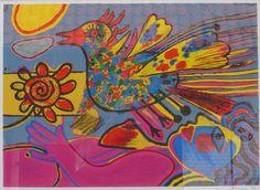 Corneille, Vrouw, vogel, bloem.kunstuitleen-online.nl