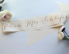 Bachelorette Future Mrs Bridal Sash by ShadesOfPinkPaperBtq