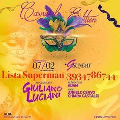 Domenica Gilda omaggi e tavoli #ListaSuperman SPECIALE MARTEDì GRASSO VIBE OMAGGIO 3934786744 - http://ift.tt/1HQJd81