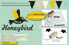 Miss Honeybird - kaarten | posters | stempels | stoffen |