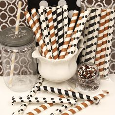 Holy Cow...SPRINKLE STIX for Cowboy / Cowgirl Parties and Farm Parties,....Fun brown and black striped paper tubes with fun SPRINKLES to decorate cupcakes, ice cream, birthday cake and other yummy desserts......PASS OUT THE SPRINKLE STIX.....and let the party begin.