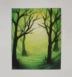 """Acrylic Silhouette Painting  """"Green Forest Light"""" Video Available: http://youtu.be/7adwxLhj3-o #AcrylicSilhouettePainting  #AcrylicPainting"""