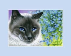 Botanical Cat ACEO Print Forget-Me-Not by Irina Garmashova #ACEOartcards