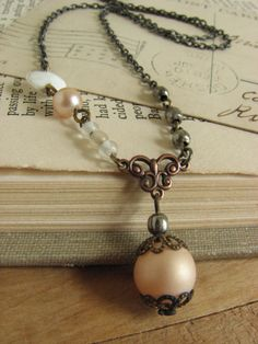 Delicate Pastel Assemblage Necklace shabby chic by whybecause, $22.00