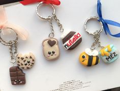 Polymer clay handmade homemade keychain couple cute bee nutella bread chocolate honey cookie