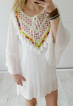 vintage-fashion-design - Tunika Ibiza LOVE von Miho´s in off white bunte Stickerei Gr. 36 38 40