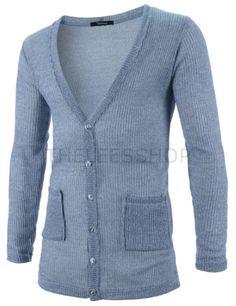 (GAC04-SKY) Mens Slim Fit Knitted Corduroy 6 Button 2 Pocket Long Sleeve Cardigan