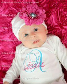 Baby Girl Custom Monogrammed Onesie or Gown and Rhinestone Flower Beanie Hat - Newborn thru 12 months via Etsy