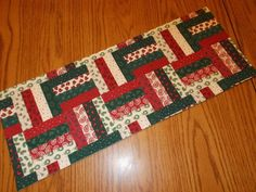 "Christmas quilt style block birds trees paisley wreaths pine branches handmade MINI table runner toilet tank topper (approx. 7.5"" X 20"")"