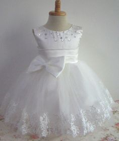 Formal Tea Length Flower Girl Dresses Lace Ball Gown Kids Wedding Party Dresses on Luulla Girls Baptism Dress, Baby Girl Baptism, Little Dresses, Little Girl Dresses, Cute Dresses, Girls Dresses, Party Dresses, Flower Girls, Flower Girl Dresses