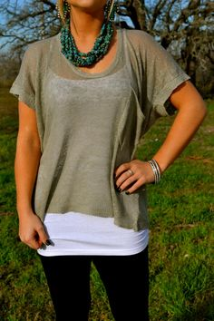 Baggy sweater tee with chunky turquoise jewelry