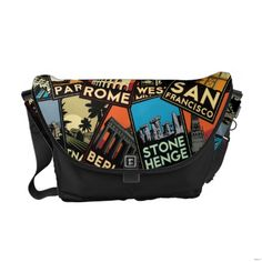 Sewing Bags Retro Travel posters retro vintage europe asia usa - Shop Travel posters retro vintage europe asia usa messenger bag created by Personalize it with photos Custom Messenger Bags, Messenger Bag Men, Pack Your Bags, All I Ever Wanted, Beautiful Bags, Travel Posters, Travel Accessories, Travel Bag, Purses And Bags