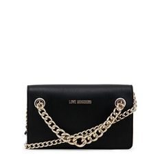 Shop love moschino black leather clutch bag for women at Fashiontage. Give your online shopping a new twist with stylish women's bags/clutch bags. Black Clutch Bags, Leather Clutch Bags, Cristiano Ronaldo Underwear, Black Love, Gold Chains, Moschino, Nike Men, Shoulder Strap, Black Leather