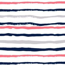 coral and navy fabric stripes fabric han custom fabric by charlottewinter for sale on Spoonflower Beach Fabric, Navy Fabric, Hand Painted Fabric, Coral Navy, Paint Stripes, Sea Side, Striped Fabrics, Fabric Painting, Custom Fabric