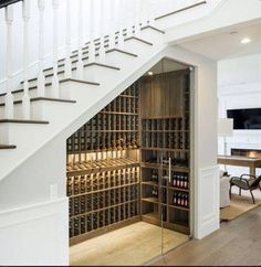 Hollow under the stairs - ideas to decorate and to .- Hollow unter der Treppe – Ideen, um es zu dekorieren und zu verschönern – Haus Dekoration Hollow under the stairs – ideas to decorate and beautify it - Stair Storage, Wine Storage, Stairs With Storage, Storage Area, Closet Storage, Under Stairs Wine Cellar, Wine Cellar Basement, Home Wine Cellars, Wine Cellar Design