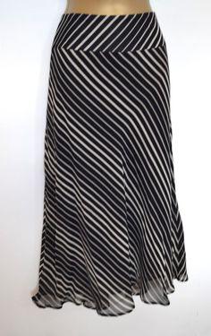 a675af403 M & S Striped Skirt Size 12 Black Beige Cream Marks and Spencer Holiday  Work