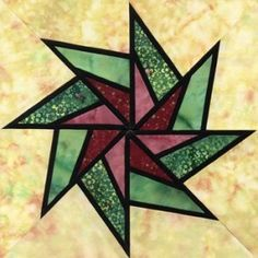 Beginner Stained Glass Patterns | Stained Glass Whirling Star Quilt Block Pattern