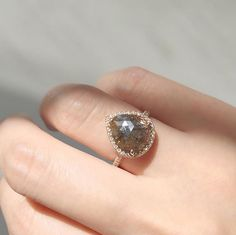 Vale Jewelry Rose cut brown diamond with pavé diamond halo
