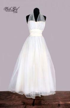 1950s Marilyn Monroe Style Halter Wedding Dress / Gown
