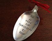 Recycled Silverware Spoon Christmas Ornament Hand Stamped  We Wish You A Merry Christmas. $12.95, via Etsy.