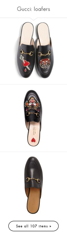 """""""Gucci: loafers"""" by heloisacintrao ❤ liked on Polyvore featuring shoes, loafers, flats, black multi, black loafer flats, flat shoes, black mules, black loafers, horsebit loafers and black mule shoes"""