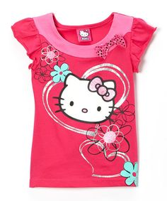 Loving this Pink & Silver Hearts Hello Kitty Bow Top - Girls on #zulily! #zulilyfinds