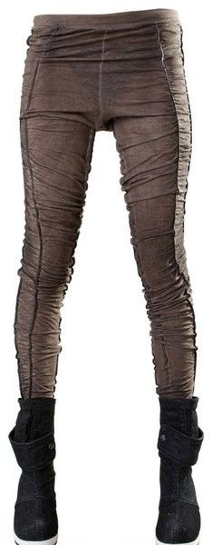 Demobaza Brown Ruched Cotton Jersey Leggings