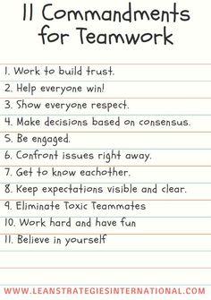 11 commandments of a team, download a free poster on Lean Strategies International LLC.    #teamwork #team