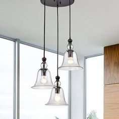 Yamila Bell-shaped Glass Antique Black Pendant Chandelier (Antique Black, Clear Glass Bell), The Lighting Store 3 Light Pendant, Pendant Chandelier, Lantern Pendant, Pendant Lighting, Rustic Chandelier, Home Decor Lights, Metal Canopy, Antique Lighting, Lighting Store