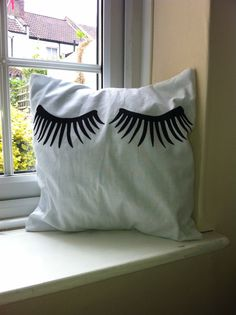 Handmade Applique Eyelash Cushion Cover by MadeWithLoveFromChoi