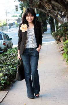 flare jeans + blazer + big old flower pin