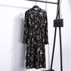 Autumn Women Dress Ladies Long Sleeve Polka Dot Vintage Chiffon Shirt Dress Casual Black Red Floral Winter Midi Dress Size S Color Elegant Dresses For Women, Casual Dresses, Summer Dresses, Ladies Dresses, Autumn Dresses, Office Dresses, Summer Outfit, Casual Wear, Vintage Long Dress