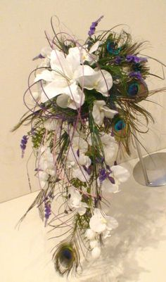 WEDDING FLOWERS, BRIDE PEACOCK FEATHER ORCHID & LILY WHITE PURPLE SHOWER BOUQUET | eBay