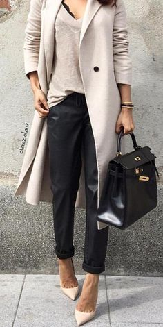 #fall #outfits women's beige long coat and black leather hand bag
