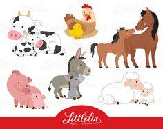 boerderij moeder en baby clipart - familie clipart - 16055