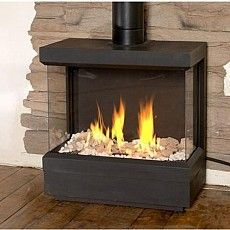 Image result for ortal standalone modern corner gas fireplace