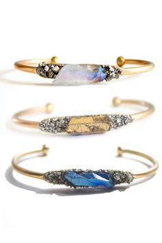 Raw crystal cuffs / bangles   jewelry design