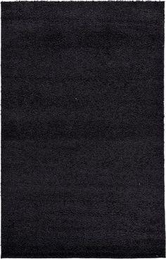 Black Solid Frieze Area Rug