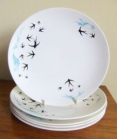 Royal Worcester Palissy Flight - Blue & White Swallows Plates