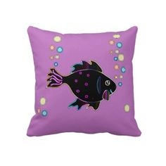 Cute Neon Fish 2 Sided Pillow