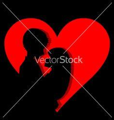 Couple in heart vector on VectorStock®