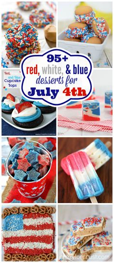 Over 95 red, white, and blue desserts for the 4th of  July! Tons of patriotic recipes!