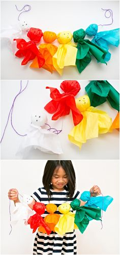 DIY Rainbow Paper Tissue Ghosts. Who says ghosts have to be white? Make this colorful tissue paper ghost garland with your kids!