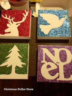 use plywood or foam board to either use a printed image to make a void, spray with spray glue, remove image, and add glitter OR paint a picture with glue and then apply glitter by malinda Dollar Store Christmas, Dollar Store Crafts, Christmas Signs, Diy Christmas Gifts, Dollar Stores, Holiday Crafts, Handmade Christmas, Christmas Canvas, Christmas Paintings