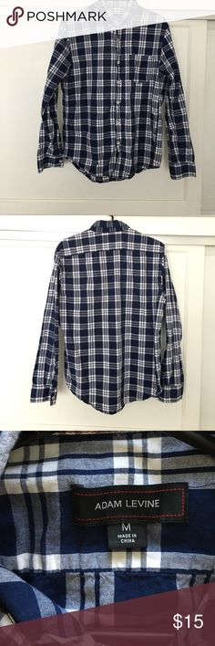 Adam Levine blue and white flannel size medium Adam Levine blue & white flannel size medium in good condition Adam Levine Collection Shirts Casual Button Down Shirts