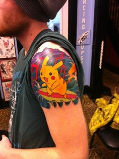 Pikachu the surfer! - Nerdy Pokemon Tattoos
