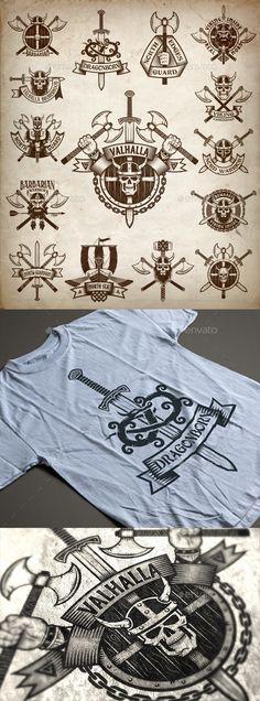 Vikings Logos http://graphicriver.net/item/vikings-logos/14621653?ref=damiamio