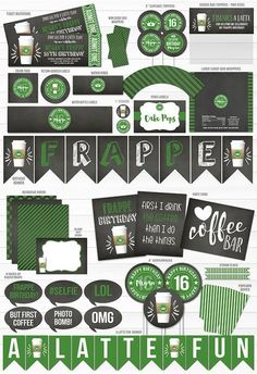 Printable Starbucks Inspired Birthday Party Package Decorations | Chalkboard Latte Ticket Birthday Invitation | Frappe Birthday | Coffee Party | 13th, 16th, 18th, 21st, 30th | Sweet 16 | Cupcake Toppers | Favor Tag | Signs | Photo Props | Food Labels | Banner | Decor