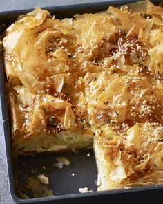 In Greece, there are two variants of this filo cheese pie, one sweet, one savoury, but this version merges the two, adding honey to salty feta, to create what Nigella Lawson best describes (in taste terms) as a Greek cheesecake.